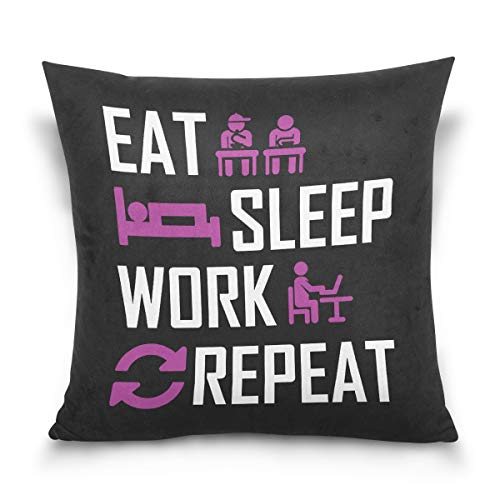 Aibileen Eat Sleep Work Repeat Funny Text Art Decorative Cotton Short Plush Throw Pillow Case for Rest -