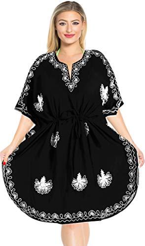 (LA LEELA Rayon Solid Kimono Dress Women OSFM 14-28 [L-4X] Black_1426)