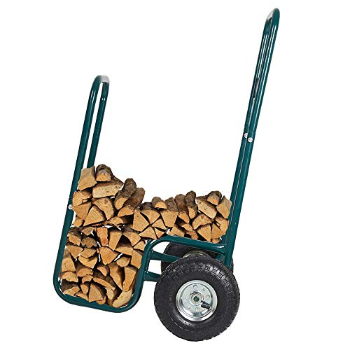 LUCKYERMORE Firewood Log Rack Carrier Cart-220 LB Weight Capacity Wood Rack Storage Mover with Rolling Wheel for Indoor & Outdoor Use