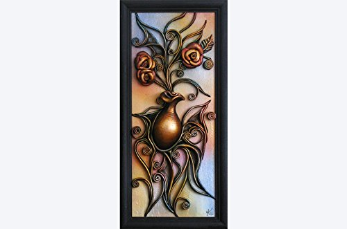 Leather Wall Art 3D Hand Painted Decor Picture, Hand Painted Ceramic Vase, Wooden Frame, Leather Rose, Acrylic Paste Relief Background, Wall Hanging, …
