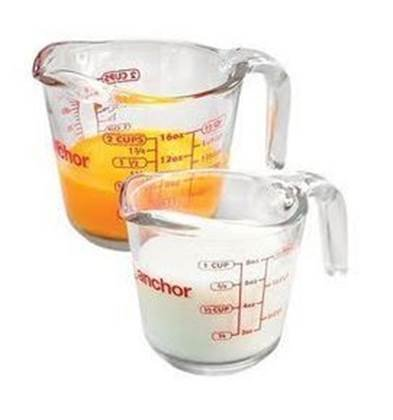 Anchor Hocking Glass Measuring Cup, Set of 2 - 1 & 2 Cup