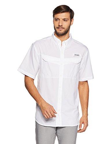 Columbia Mens Low Drag Offshore Short Sleeve Shirt, White, Medium