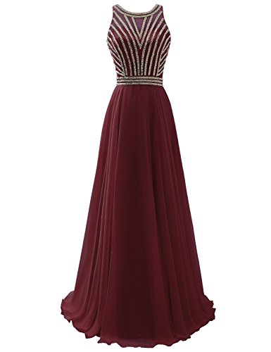 Clearbridal Prom Dresses Burgundy Long A Line For Senior High School Formal Evening Ball Gown