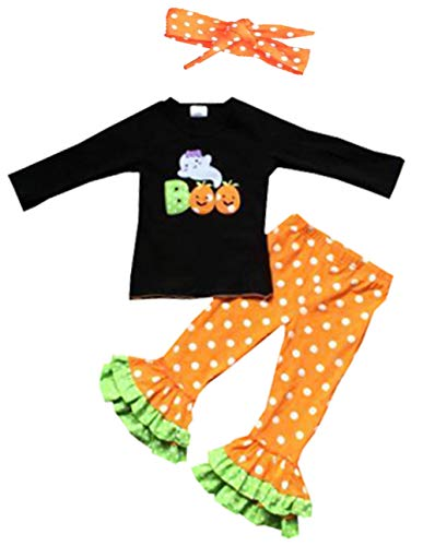 Infant Baby Girls Pumpkin Outfit 3pc Halloween Party Ruffle Pant Set -