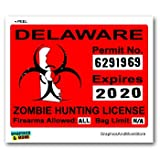 Delaware DE Zombie Hunting License Permit Red - Biohazard Response Team - Window Bumper Locker Sticker