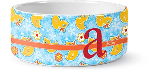 (RNK Shops Rubber Duckies & Flowers Ceramic Pet Bowl - Large (Personalized))