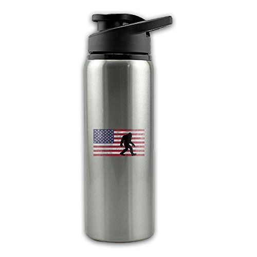 (American Flag Bigfoot Stainless Steel Layer Sports Water Bottle With Wide Mouth 24oz)