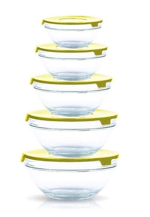 Juego de recipientes de cristal con tapas de plástico, para ...