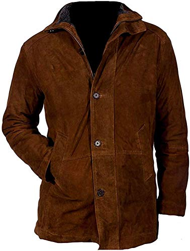The Signatures Mens Longmire Waltt Mysteriess Robertt Sherif Cow Brown Suede Leather Jacket : Winter Special Sale