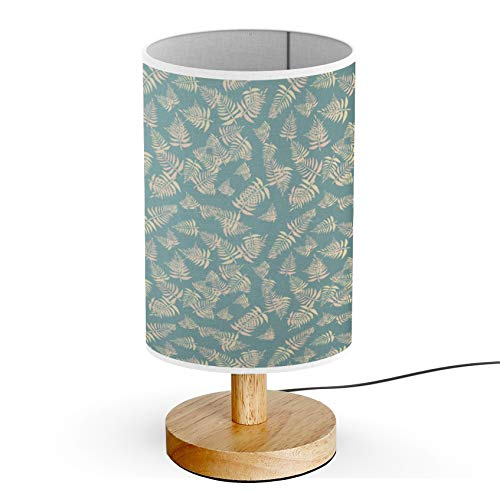 ARTSYLAMP - Wood Base Decoration Desk Table Bedside Light Lamp [ Stylish Fern Leaves ] ()