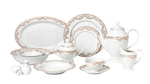 Lorren Home Trends 57 Piece 'Beauty' Bone China Dinnerware Set (Service for 8 People), Pink