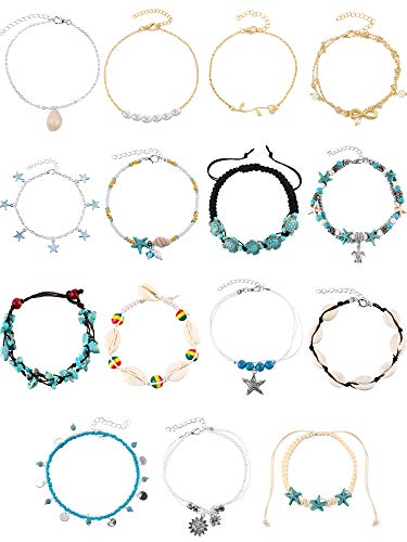 Yaomiao Boho Anklets Chains Bracelets Adjustable Beach Anklet Foot Jewelry Set for Women Girls (Colorful Style) ()