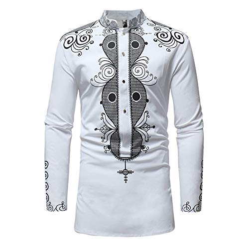 Toimothcn Men's African Style Print Long Sleeve 1/4 Zipper Dashiki Shirt Top Blouse (White1,L) -