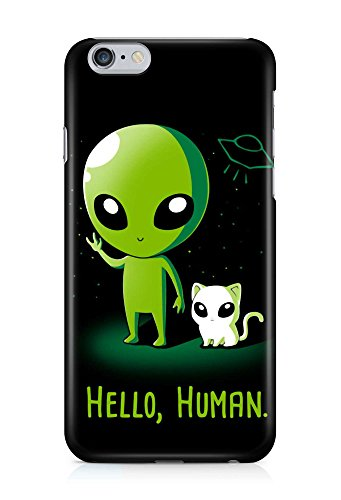 COVER Alien Katze hello human Design Handy Hülle Case 3D-Druck Top-Qualität kratzfest Apple iPhone 6 Plus