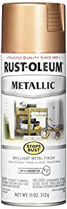Rust-Oleum 286564 Stops Rust Vintage Metallic Spray Paint 11 Oz, Rose Gold