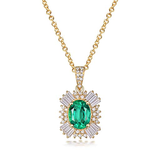 Beyond jewelry Solid 14K Yellow Gold Diamond Natural Oval Cut Emerald Pendant Noble Gemstone Jewelry(only Pendant w/o Chain)