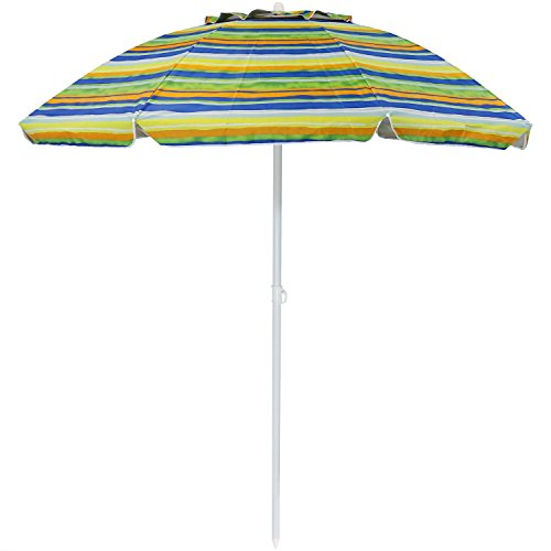 Sunnydaze 6-Foot Vented Beach Umbrella with Tilt Function and UV 50 Sun Protection, Striped Tropical Fusion