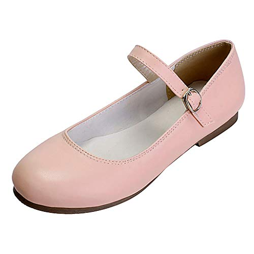 ONLYTOP_Shoes Women's Wide Width Flat Shoes,ONLYTOP Comfortable Slip On Round Toe Ballet Ankle Strap Low Heel Dress Mary Jane Pumps Pink