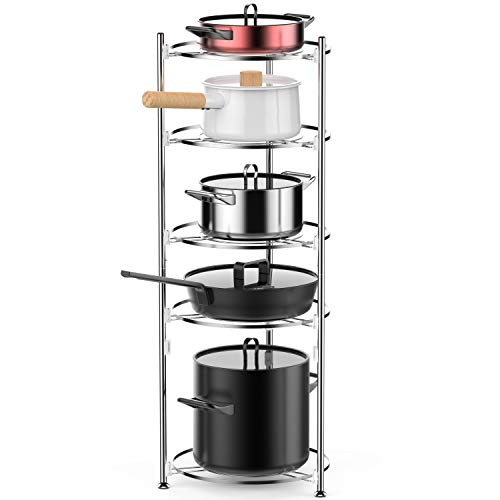5 Tier Cookware Stand - 5 Tiers Cookware Stand, iSPECLE Kitchen Free Standing Rack Organizer for Pan and Pot, Easy to Install without Tool, Stainless Steel, Silver