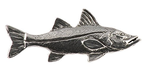 Creative Pewter Designs, Pewter Snook Small, Handcrafted Saltwater Fish Lapel Pin Brooch, Antique Finish, S028
