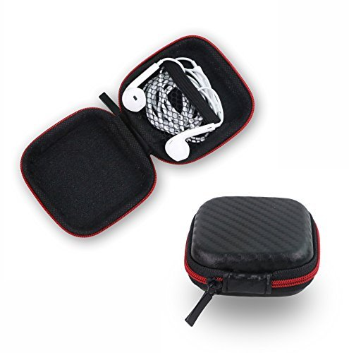 [New Generation] Portable ZHPUAT PU Leather Carrying Hard Case for iPod MP3 Earphone Headphone (Black)