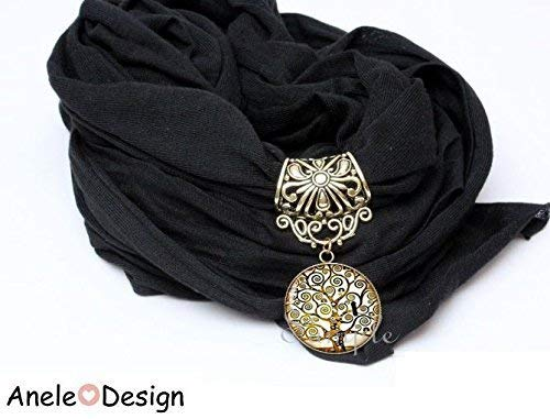 Echarpe foulard bijou noir Klimt Arbre de vie oiseau