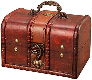 Wankd - Caja de Madera Retro con Cerradura metálica para Joyas y Joyas de Madera: Amazon.es: Hogar