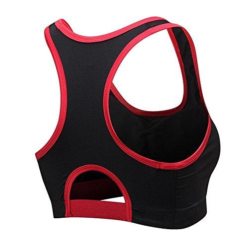 Senza Imbottito Sport Top rosso Donna Corsa Ferretto Reggiseno Yoga Palestra Gyratedream Bra Fitness Comodo Allenamento Sportivi Nero qXPOTnw