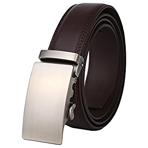 Dante Men's Real Leather Ratchet Dress Belt with Automatic Buckle-Elegant Gift Box(25-0711 Brown leather)