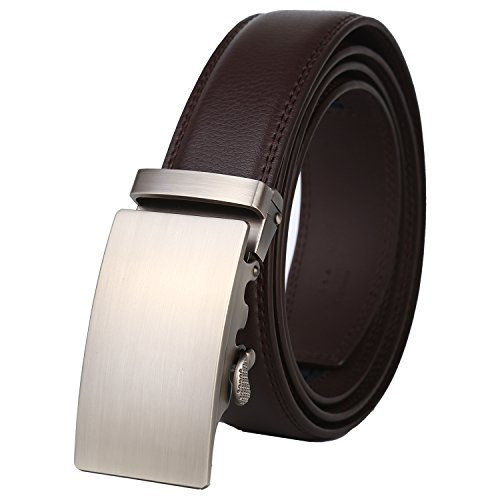 Dante Men's Leather Ratchet Dress Belt with Automatic Buckle, Elegant Gift Box (All Silver Buckle with Brown Leather) - Brown Leather Belt Silver Buckle