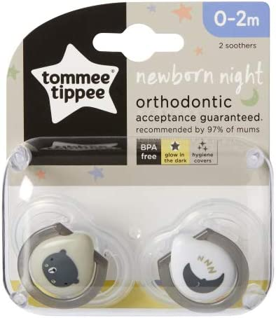 Baby Soother Dummy Nipple Tommee Tippee 0-2m 2 x Pacifier Boy Girl Night Time