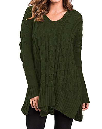 Womens Casual Knit V Neck Blouse Pullover Loose Tops Sweater Jumper Army Green S