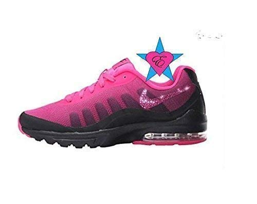 Custom Crystal Bedazzled Pink Black Women Nike Air Max Invigor Print - Bling  Nike Shoes 095e1866ad