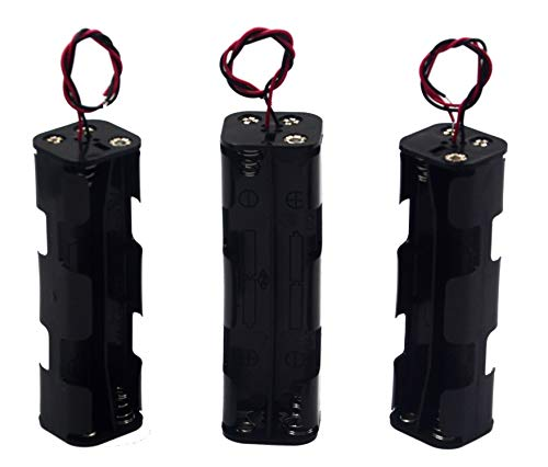 8 Cell Battery Holder - LAMPVPATH (Pack of 3) 8 AA Battery Holder, 12v AA Battery Holder, 8 AA Battery Holder With Leads