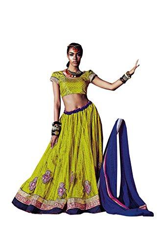 PCC Womens Parrot Green Striking Lehenga Choli With Lace Work 79954