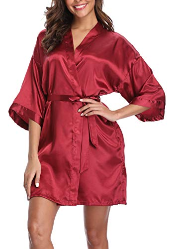 (Old-Times Women's Pure Color Silk Kimono Short Robes for Bridesmaids and Bride Wine S/M)