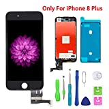 Screen Replacement for iPhone 8 Plus Black for LCD Display & Touch Screen Digitizer Frame Assembly Set with 3D Touch Free Repair Tool(5.5'')