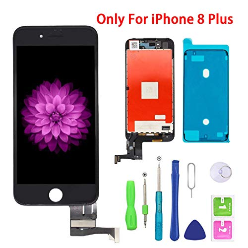 (Screen Replacement for iPhone 8 Plus Black for LCD Display & Touch Screen Digitizer Frame Assembly Set with 3D Touch Free Repair Tool(5.5''))