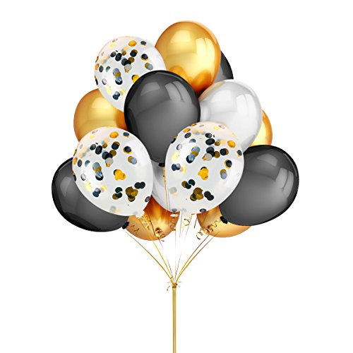 LeeSky 50 Pack Gold & Silver & Black Color Party Latex Balloons,12Pcs 12 Inches Gold & Silver & Black Color Confetti Balloons,Graduation Bachelorette Wedding Birthday Holiday Party Decorations