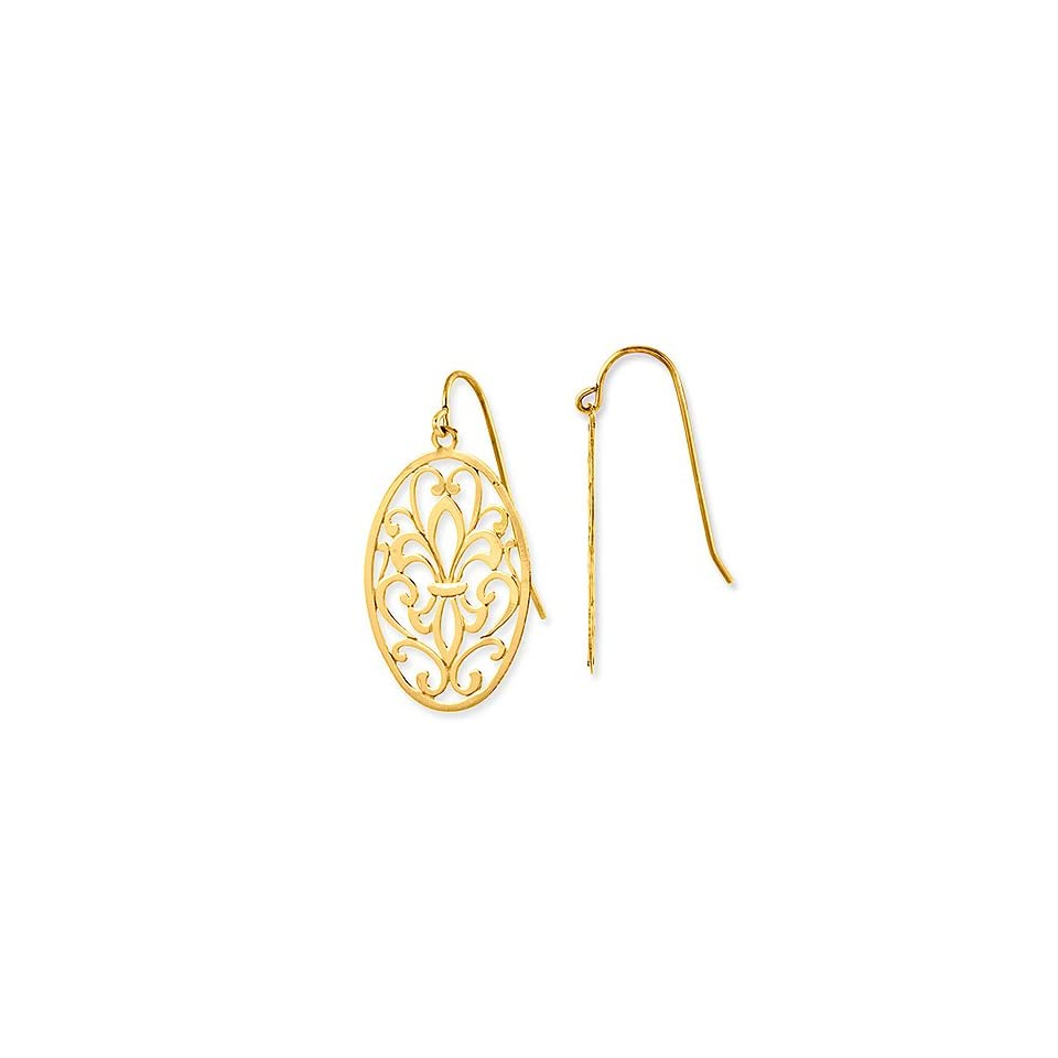 14k Gold Ornament Oval Leaf Shaped Dangle Drop Earrings, 32mm or 1.25 Long Drop, Medium (M) Size  $109 SALE   NO Sales TAX exc. MA