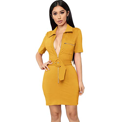 PENGYGY Pengy Woman Solid Bodycon Dress Casual Short Sleeve Skirt Office Daily Mini Dress Yellow ()