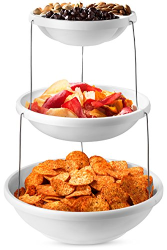 Collapsible Bowl, 3 Tier - The Decorative Plastic Bowls Twist Down and Fold Inside for Minimal Storage Space. Perfect for Serving Snacks, Salad and Fruit. The Top Bowl is Divided into Three Sections. - Melamine Display Tray