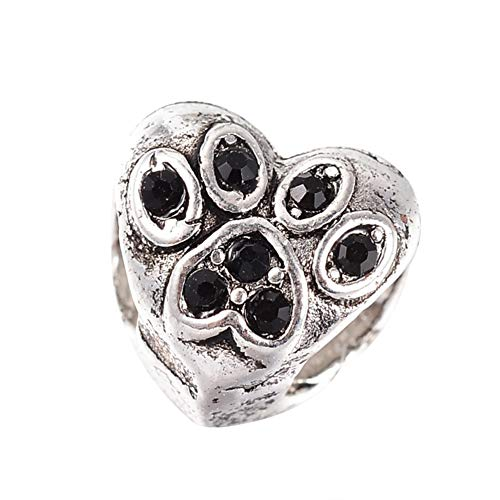 (arricraft 100 Pcs Antique Silver Tone Alloy Rhinestone European Beads Jet Heart Large Hole Beads for Jewelry Making)