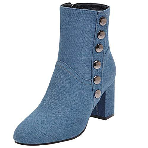 Vitalo Womens Chunky High Heel Zip Up Denim Ankle Boots Light Blue