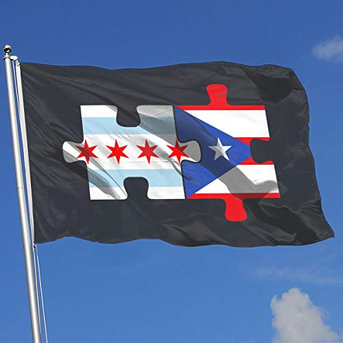 TAOHJS76 Graphic Outdoor/Home Demonstration Flag Chicago Puerto Rico Flags Puzzle 100% Polyester Single Layer Translucent Flags 3 X 5 -