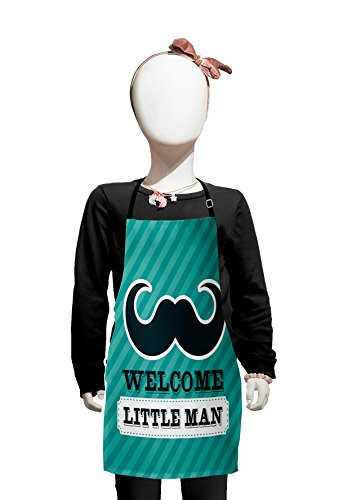 Lunarable Mustache Kids Apron, Welcome Little Man Message Framed by Dashed Lines on Stripes, Boys Girls Apron Bib with Adjustable Ties for Cooking Baking and Painting, Pale Sea Green and Dark Teal