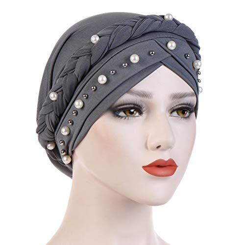 (Fxhixiy Women Hijab Beading Pearl Braid Turban Hat Head Scarf Cancer Chemo Beanies Bandana Headwrap Cap (Gray))