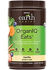GNC Earth Genius OrganIQ Eats - Vanilla, 20 Servings, 20 Grams of Plant-Based Protein Blend