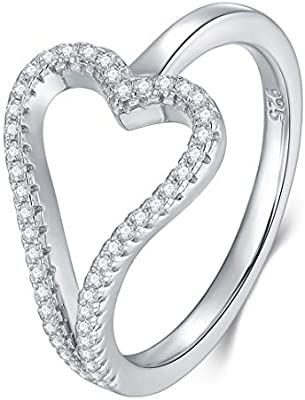Heart Cubic Zirconia /& Round Cz .925 Sterling Silver Ring Sizes 4-12