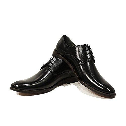 PeppeShoes Modello Giuseppe - Handmade Italiennes Cuir Pour des Hommes Black Chaussures Oxfords - Cuir de Vachette Cuir Souple - Lacer